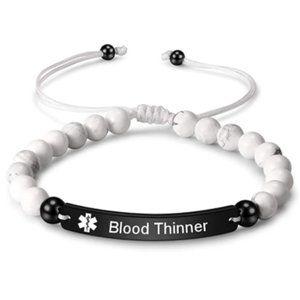 Blood Thinner Medical Alert Bracelet Stone